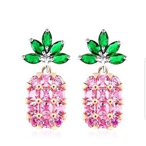 Jewelry - Pink Pineapple Crystal Bling Earrings